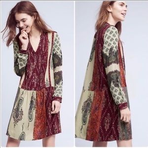 Anthropologie Tiny Patchwork Paisley Dress S